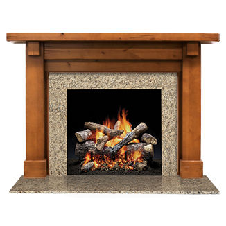 traditional fireplace surround / granite / wooden
