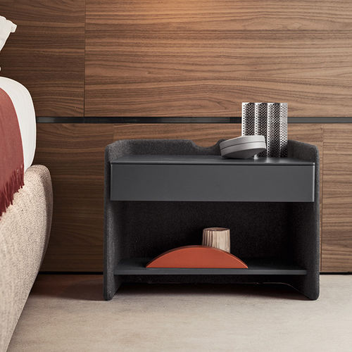 contemporary bedside table / lacquered wood / leather / fabric