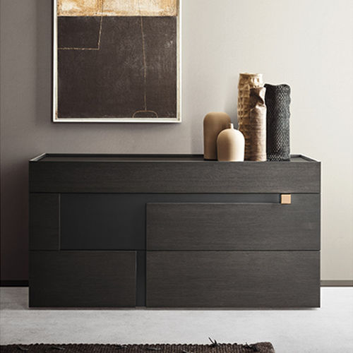 contemporary chest of drawers / lacquered wood / brown / gray