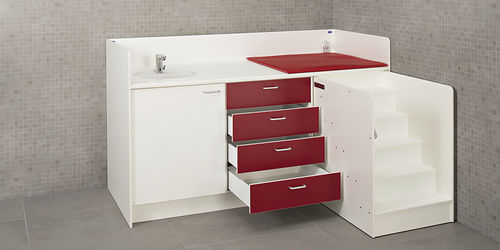 wooden changing table / free-standing / commercial / with bath