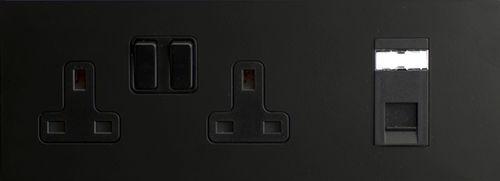 power socket / telephone / double / wall-mounted