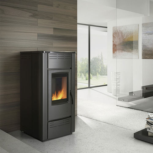pellet heating stove / contemporary / central / steel