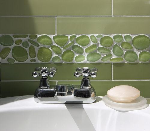 indoor mosaic tile / bathroom / wall / glass