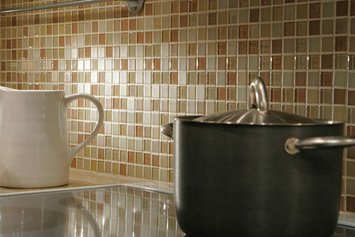 indoor mosaic tile / kitchen / wall / glass