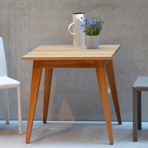 contemporary side table / wood veneer / square