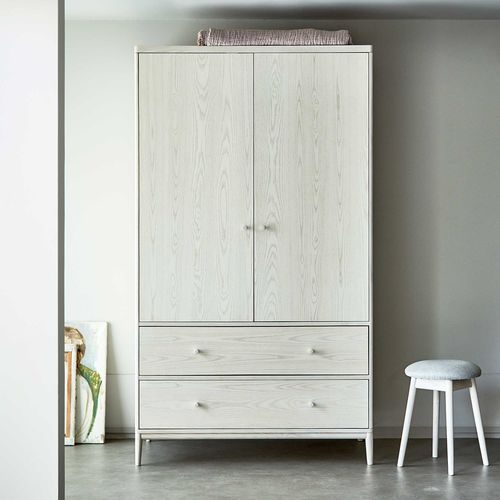 contemporary wardrobe / ash / with swing doors / with drawer