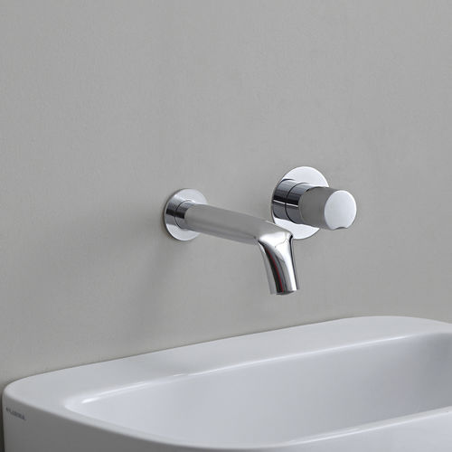 washbasin mixer tap / wall-mounted / chrome-plated brass / bathroom