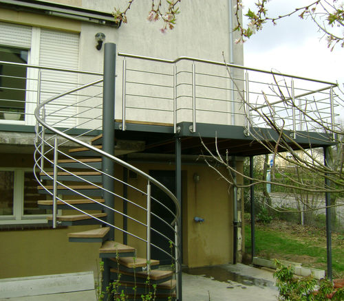 balcony with bars / wooden / steel / galvanized steel