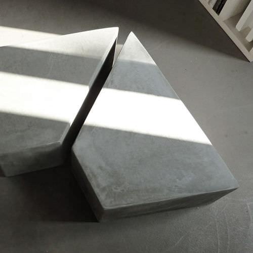 contemporary coffee table / cement / trapezoidal / garden