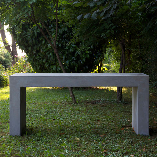 contemporary table / cement / rectangular / garden