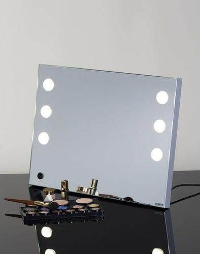 table mirror / illuminated / contemporary / square