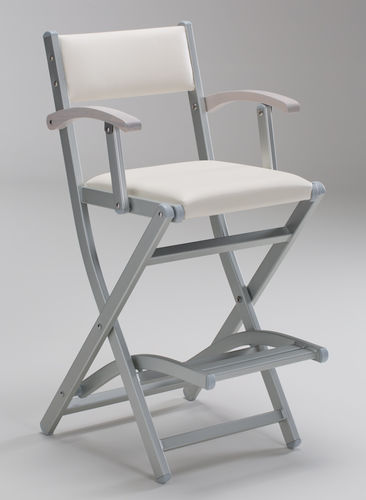 anodized aluminum makeup chair / solid wood / with footrest / folding