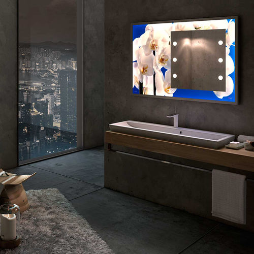 wall-mounted display panel / indoor / luminous / glass