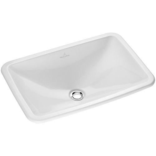 built-in washbasin / rectangular / porcelain / contemporary