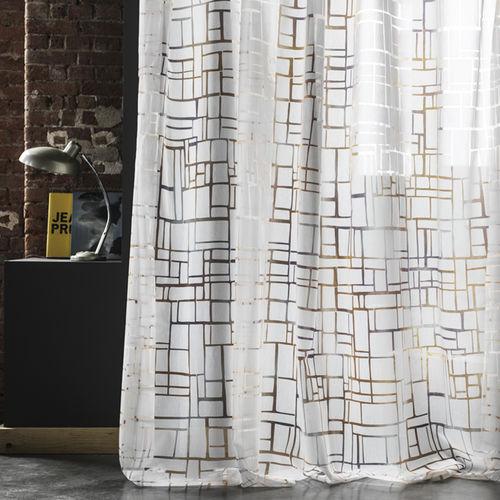 curtain fabric / geometric pattern / polyester / cotton