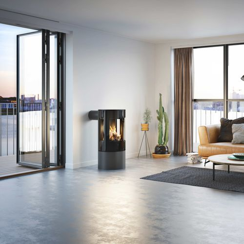 gas heating stove / contemporary / 3-sided / steel