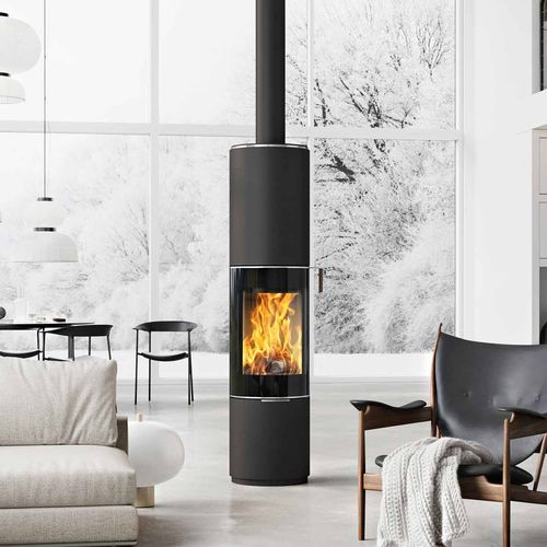 wood heating stove / contemporary / central / metal