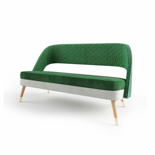 contemporary upholstered bench / leather / fabric / solid wood