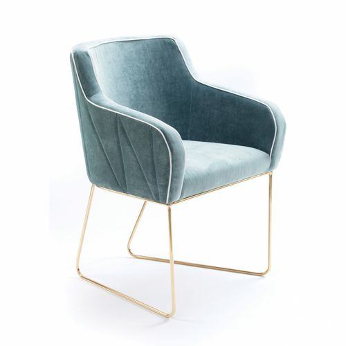 contemporary chair / with armrests / sled base / fabric