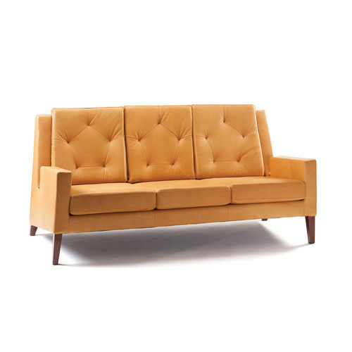 contemporary sofa / fabric / leather / solid wood