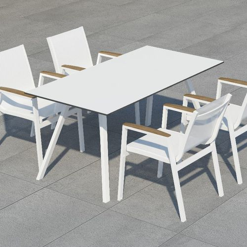 Contemporary Dining Table Amelia 10deka Hpl Aluminum Base Rectangular