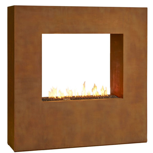 contemporary fireplace surround / steel / double-sided