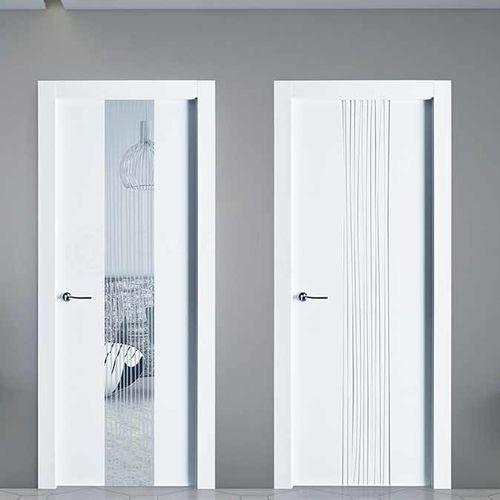 indoor door / swing / wooden / semi-glazed