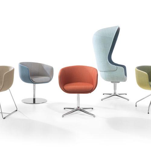 contemporary visitor armchair / fabric / aluminum / chromed metal