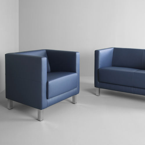 contemporary armchair / metal / fabric / commercial