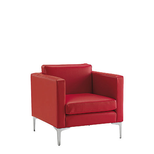 Contemporary Armchair Tago Sesta Leather With Armrests Red