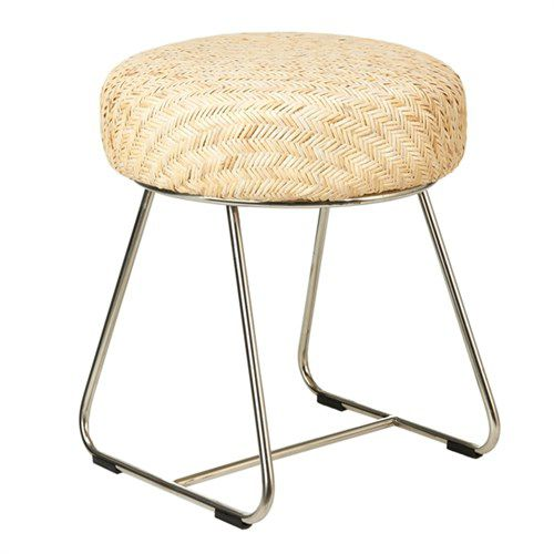 contemporary stool / rattan / stainless steel