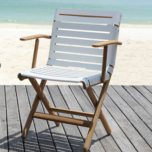 traditional armchair / teak / with armrests / stackable