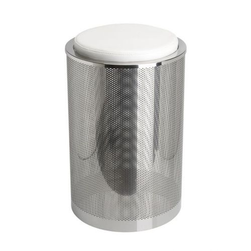 contemporary stool / leather / stainless steel / polished stainless steel