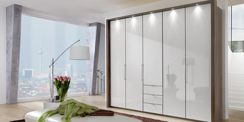 contemporary wardrobe / wooden / with swing doors / with drawer