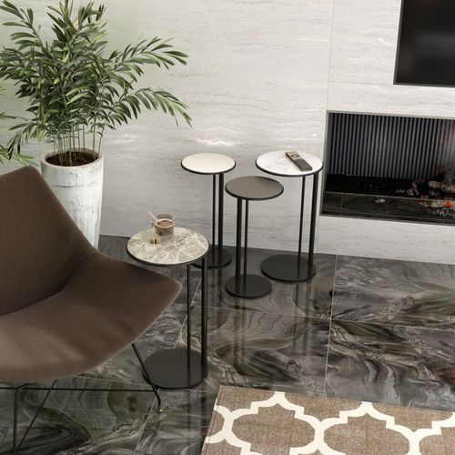 contemporary side table / ceramic / lacquered metal steel base / round