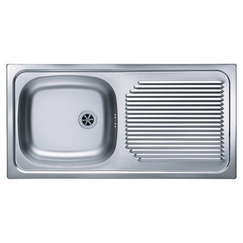 Single Bowl Kitchen Sink Basic 60 Alveus Stainless Steel Overmount With Drainboard