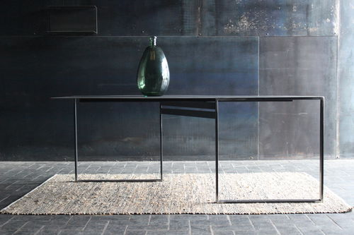 contemporary dining table / steel / steel base / rectangular