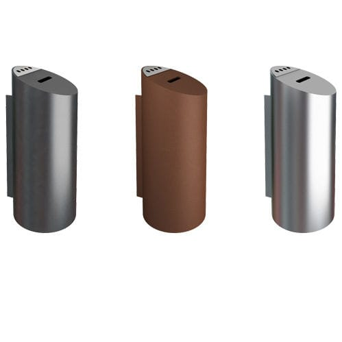 public trash can / wall-mounted / galvanized steel / stainless steel