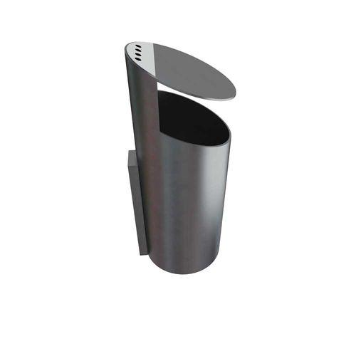 public trash can / wall-mounted / steel / galvanized steel