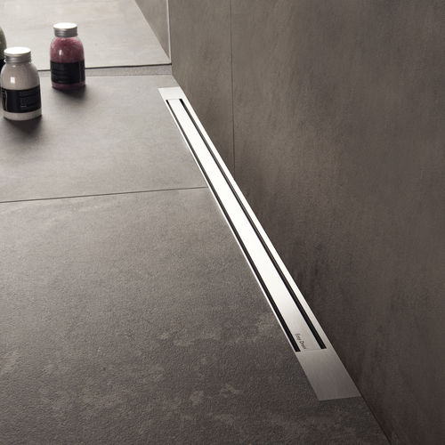 brushed stainless steel linear shower drain