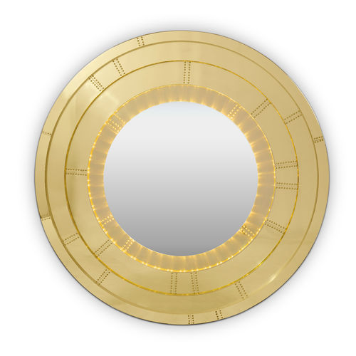wall-mounted bathroom mirror / contemporary / round / brass