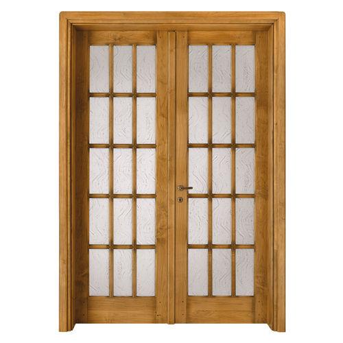 indoor door / swing / solid wood / double-leaf