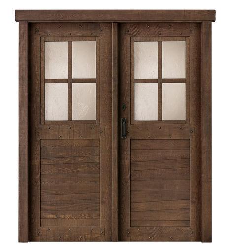 indoor door / swing / solid wood / lacquered