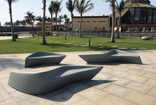 public bench / original design / concrete / with backrest