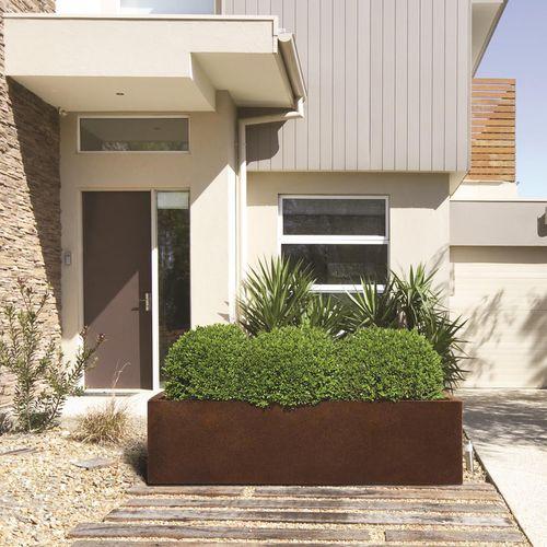 COR-TEN® steel planter / rectangular / contemporary / for public spaces