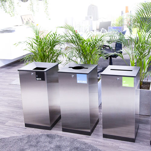 public trash can / stainless steel / galvanized steel / recycling