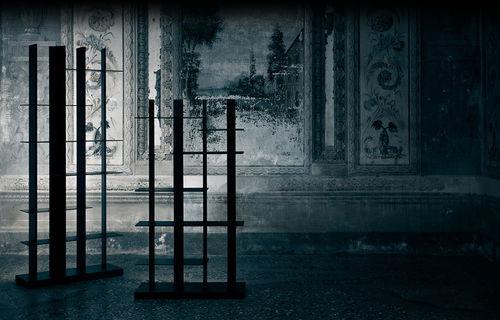 minimalist design bookcase / aluminum / with built-in lighting
