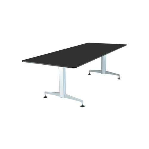 contemporary work table / laminate / wood veneer / aluminum