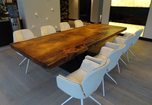 contemporary dining table / solid wood / steel / stainless steel
