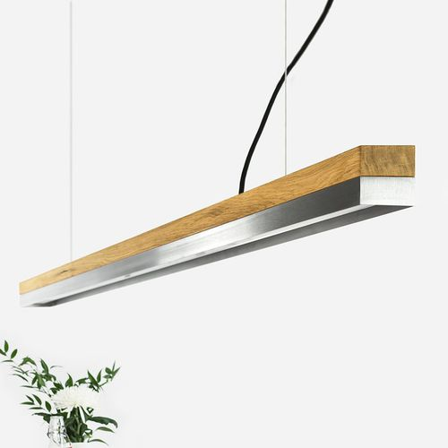 pendant lamp / minimalist design / stainless steel / oak